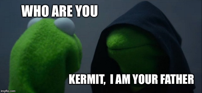 Evil Kermit Meme | WHO ARE YOU KERMIT,  I AM YOUR FATHER | image tagged in memes,evil kermit | made w/ Imgflip meme maker