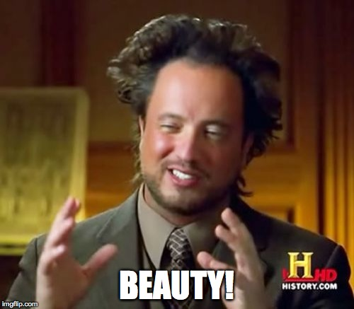 Ancient Aliens Meme | BEAUTY! | image tagged in memes,ancient aliens | made w/ Imgflip meme maker