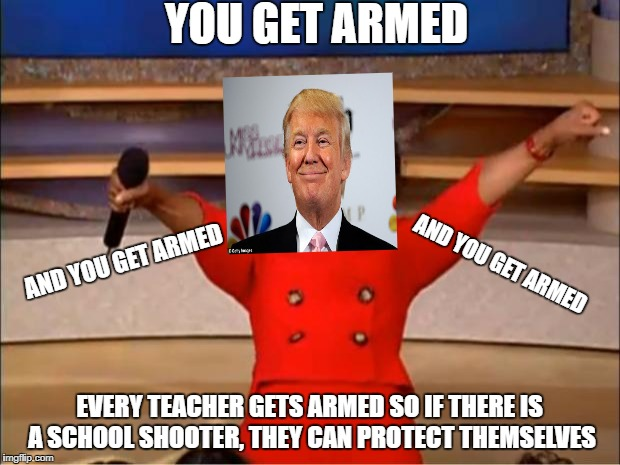 Oprah You Get A Meme | YOU GET ARMED EVERY TEACHER GETS ARMED SO IF THERE IS A SCHOOL SHOOTER, THEY CAN PROTECT THEMSELVES AND YOU GET ARMED AND YOU GET ARMED | image tagged in memes,oprah you get a | made w/ Imgflip meme maker