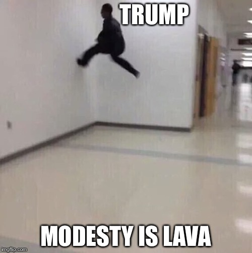 Floor is lava | TRUMP MODESTY IS LAVA | image tagged in floor is lava | made w/ Imgflip meme maker