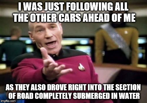 Picard Wtf Meme | I WAS JUST FOLLOWING ALL THE OTHER CARS AHEAD OF ME AS THEY ALSO DROVE RIGHT INTO THE SECTION OF ROAD COMPLETELY SUBMERGED IN WATER | image tagged in memes,picard wtf | made w/ Imgflip meme maker