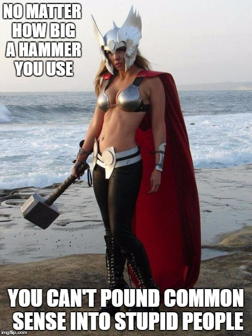 Hammer Time | NO MATTER HOW BIG A HAMMER YOU USE YOU CAN'T POUND COMMON SENSE INTO STUPID PEOPLE | image tagged in thor,random,overly attached girlfriend | made w/ Imgflip meme maker
