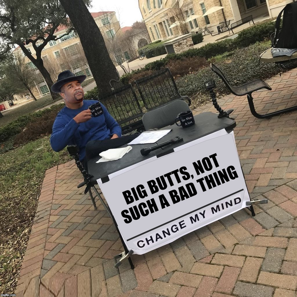 It's A Debate You Cannot Win! | image tagged in memes,big butts,sir mix alot,booty,twerking,change my mind | made w/ Imgflip meme maker