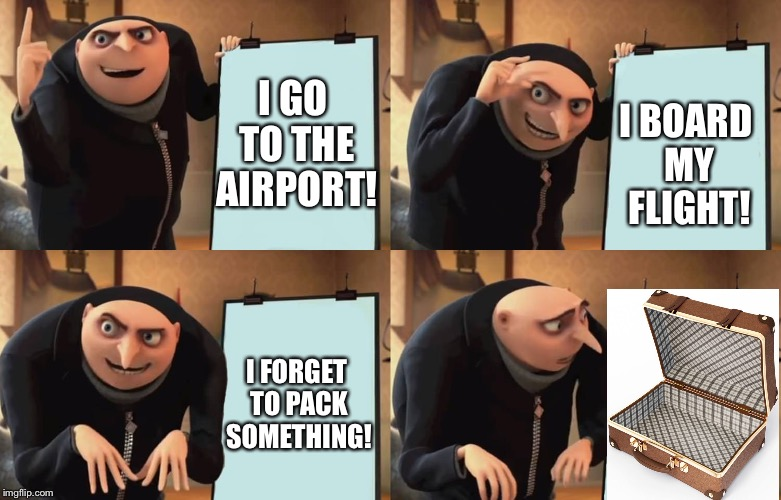 When Gru forget to pack something | I GO TO THE AIRPORT! I BOARD MY FLIGHT! I FORGET TO PACK SOMETHING! | image tagged in gru,memes,dank memes,relateable,clickbait,political meme | made w/ Imgflip meme maker