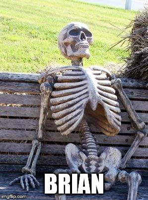 Waiting Skeleton Meme | BRIAN | image tagged in memes,waiting skeleton | made w/ Imgflip meme maker