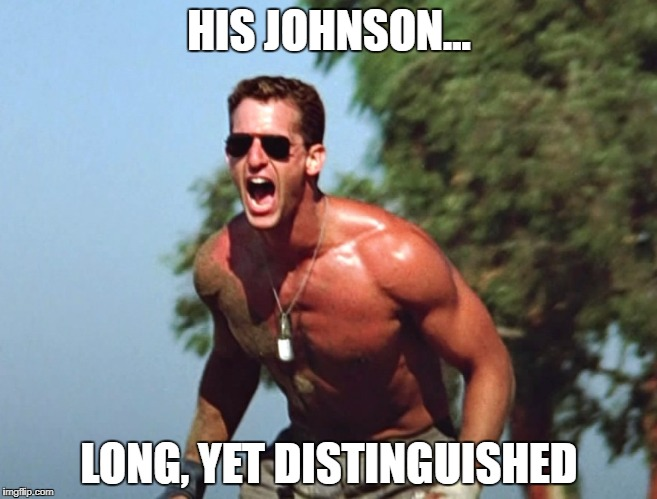 Slider | HIS JOHNSON... LONG, YET DISTINGUISHED | image tagged in rick rossovich,top gun | made w/ Imgflip meme maker
