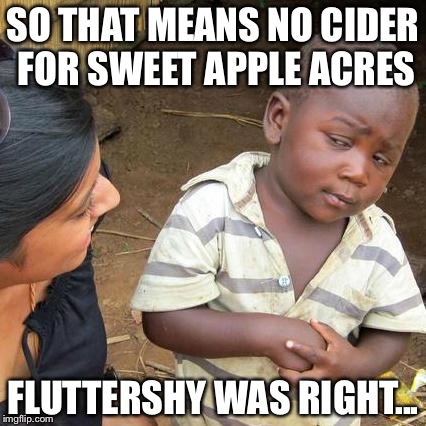 Third World Skeptical Kid Meme | SO THAT MEANS NO CIDER FOR SWEET APPLE ACRES FLUTTERSHY WAS RIGHT... | image tagged in memes,third world skeptical kid | made w/ Imgflip meme maker