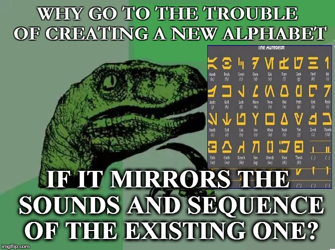 WHY GO TO THE TROUBLE OF CREATING A NEW ALPHABET IF IT MIRRORS THE SOUNDS AND SEQUENCE OF THE EXISTING ONE? | made w/ Imgflip meme maker