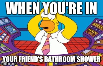 homer simpson plant buttons | WHEN YOU'RE IN YOUR FRIEND'S BATHROOM SHOWER | image tagged in homer simpson plant buttons | made w/ Imgflip meme maker