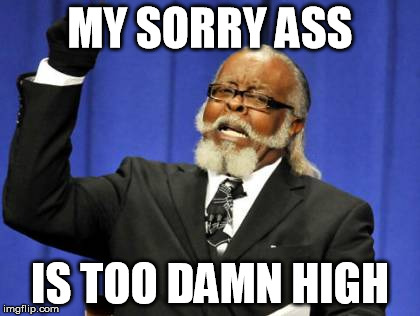 Too Damn High Meme | MY SORRY ASS IS TOO DAMN HIGH | image tagged in memes,too damn high | made w/ Imgflip meme maker