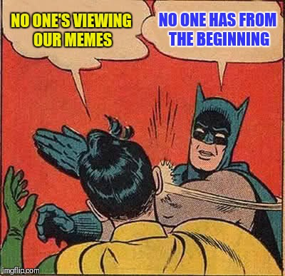Batman Slapping Robin Meme | NO ONE'S VIEWING OUR MEMES NO ONE HAS FROM THE BEGINNING | image tagged in memes,batman slapping robin | made w/ Imgflip meme maker