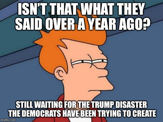 Futurama Fry Meme | ISN'T THAT WHAT THEY SAID OVER A YEAR AGO? STILL WAITING FOR THE TRUMP DISASTER THE DEMOCRATS HAVE BEEN TRYING TO CREATE | image tagged in memes,futurama fry | made w/ Imgflip meme maker