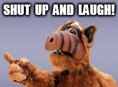 Alf Shut Up And Laugh | SHUT  UP  AND  LAUGH! | image tagged in alf,laugh | made w/ Imgflip meme maker