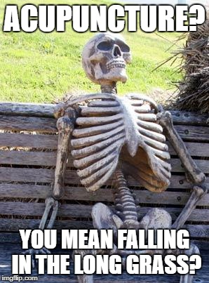 Waiting Skeleton Meme | ACUPUNCTURE? YOU MEAN FALLING IN THE LONG GRASS? | image tagged in memes,waiting skeleton | made w/ Imgflip meme maker