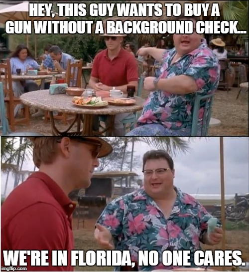 See Nobody Cares Meme | HEY, THIS GUY WANTS TO BUY A GUN WITHOUT A BACKGROUND CHECK... WE'RE IN FLORIDA, NO ONE CARES. | image tagged in memes,see nobody cares | made w/ Imgflip meme maker