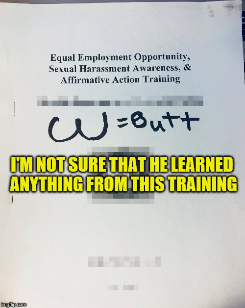 Someone needs to retake this class. | I'M NOT SURE THAT HE LEARNED ANYTHING FROM THIS TRAINING | image tagged in memes,harassment awareness training | made w/ Imgflip meme maker