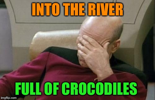 Captain Picard Facepalm Meme | INTO THE RIVER FULL OF CROCODILES | image tagged in memes,captain picard facepalm | made w/ Imgflip meme maker