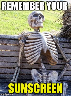 Waiting Skeleton Meme | REMEMBER YOUR SUNSCREEN | image tagged in memes,waiting skeleton | made w/ Imgflip meme maker