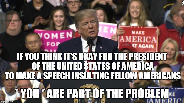 IF YOU THINK IT'S OKAY FOR THE PRESIDENT OF THE UNITED STATES OF AMERICA TO MAKE A SPEECH INSULTING FELLOW AMERICANS * YOU * ARE PART OF THE | image tagged in trump | made w/ Imgflip meme maker