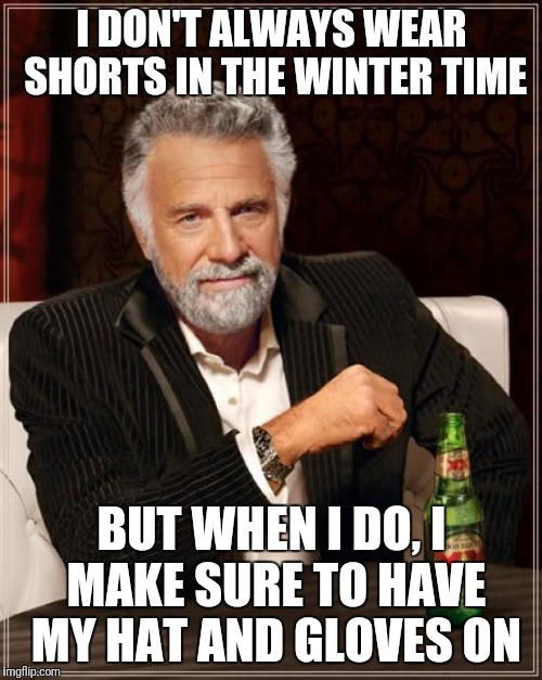 The Most Interesting Man In The World Meme | I DON'T ALWAYS WEAR SHORTS IN THE WINTER TIME BUT WHEN I DO, I MAKE SURE TO HAVE MY HAT AND GLOVES ON | image tagged in memes,the most interesting man in the world | made w/ Imgflip meme maker