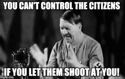 You cant | YOU CAN'T CONTROL THE CITIZENS IF YOU LET THEM SHOOT AT YOU! | image tagged in gun control | made w/ Imgflip meme maker
