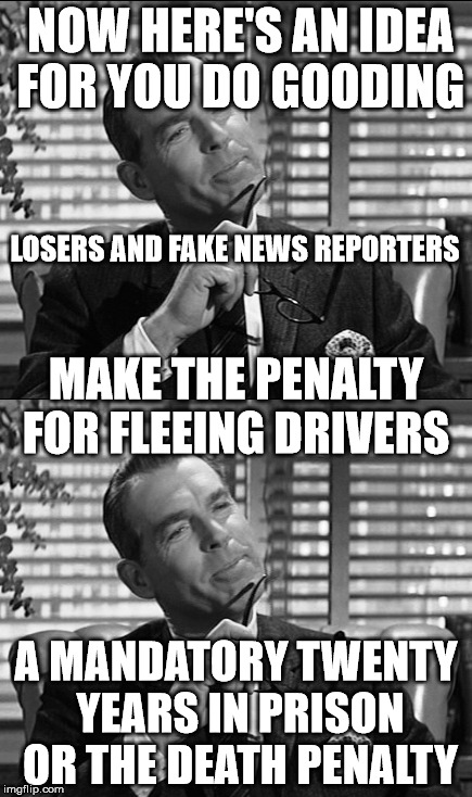 fleeing drivers | NOW HERE'S AN IDEA FOR YOU DO GOODING A MANDATORY TWENTY YEARS IN PRISON OR THE DEATH PENALTY LOSERS AND FAKE NEWS REPORTERS MAKE THE PENALT | image tagged in prison,new zealand,fake news,driving | made w/ Imgflip meme maker