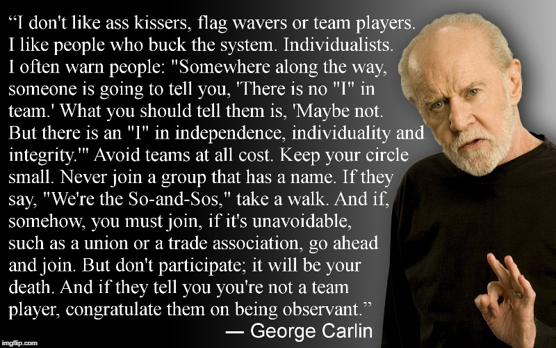 george carlin knows it best | image tagged in george carlin,ass kissers,butt lickers,flag wavers,team players,buck the system | made w/ Imgflip meme maker