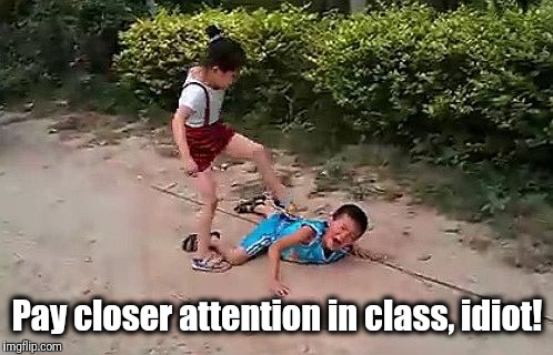 fight | Pay closer attention in class, idiot! | image tagged in fight | made w/ Imgflip meme maker