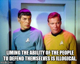 Kirk and spock | LIMING THE ABILITY OF THE PEOPLE TO DEFEND THEMSELVES IS ILLOGICAL. | image tagged in kirk and spock | made w/ Imgflip meme maker