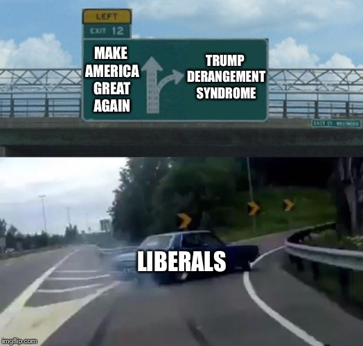 Left Exit 12 Off Ramp Meme | MAKE AMERICA GREAT AGAIN LIBERALS TRUMP DERANGEMENT SYNDROME | image tagged in memes,left exit 12 off ramp | made w/ Imgflip meme maker