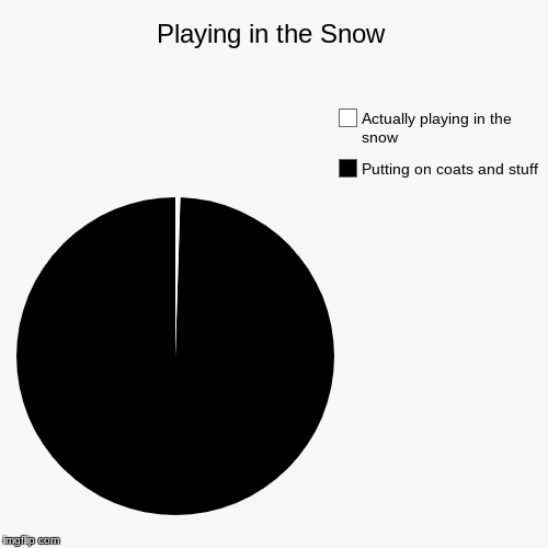 I think I made the black slice too small.... | Playing in the Snow | Putting on coats and stuff, Actually playing in the snow | image tagged in funny,pie charts,snow | made w/ Imgflip chart maker