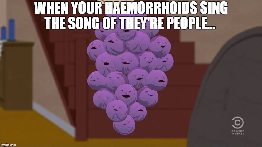 Member Berries Meme | WHEN YOUR HAEMORRHOIDS SING THE SONG OF THEY'RE PEOPLE... | image tagged in memes,member berries | made w/ Imgflip meme maker