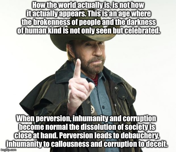 Chuck Norris Finger | How the world actually is, is not how it actually appears. This is an age where the brokenness of people and the darkness of human kind is n | image tagged in memes,chuck norris finger,chuck norris | made w/ Imgflip meme maker