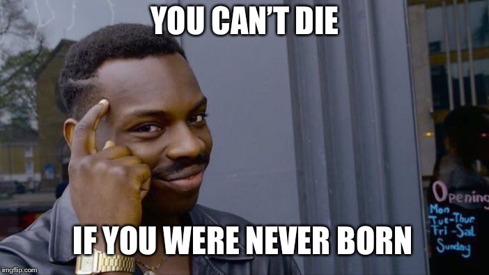 Roll Safe Think About It Meme | YOU CAN'T DIE IF YOU WERE NEVER BORN | image tagged in memes,roll safe think about it | made w/ Imgflip meme maker