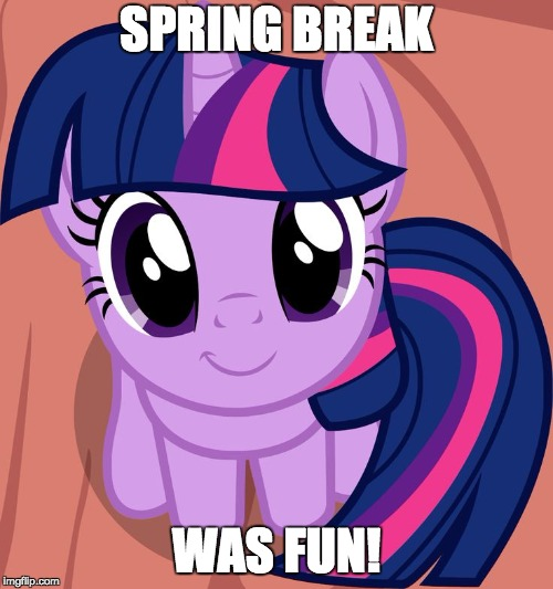 Now, back to school! :/ | SPRING BREAK WAS FUN! | image tagged in twilight is interested,memes,school,spring break,ponies | made w/ Imgflip meme maker