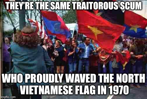Anti war Vietnam era | THEY'RE THE SAME TRAITOROUS SCUM WHO PROUDLY WAVED THE NORTH VIETNAMESE FLAG IN 1970 | image tagged in anti war vietnam era | made w/ Imgflip meme maker