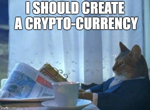 I Should Buy A Boat Cat Meme | I SHOULD CREATE A CRYPTO-CURRENCY | image tagged in memes,i should buy a boat cat | made w/ Imgflip meme maker