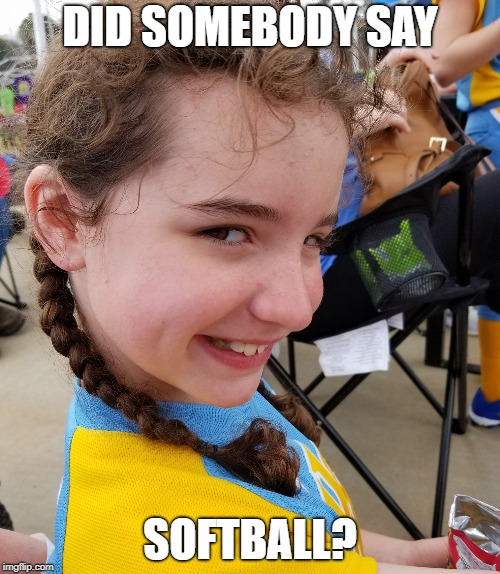 DID SOMEBODY SAY SOFTBALL? | image tagged in softball | made w/ Imgflip meme maker