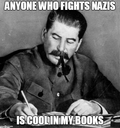 Antifa cool in my books Stalin | ANYONE WHO FIGHTS NAZIS IS COOL IN MY BOOKS | image tagged in stalin,antifa,nazi,fascist,communist | made w/ Imgflip meme maker