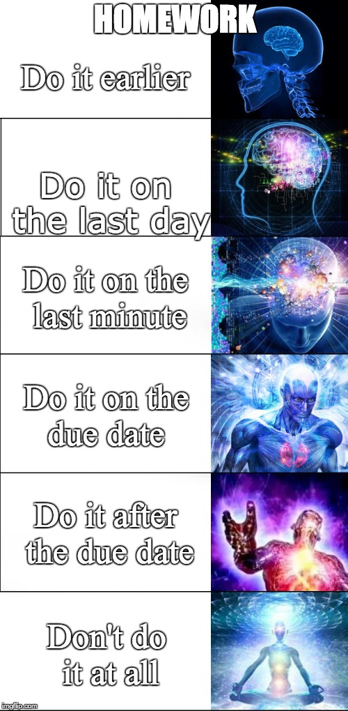 Expanding brain | HOMEWORK Do it on the last day Do it earlier Do it on the last minute Do it on the due date Do it after the due date Don't do it at all | image tagged in expanding brain | made w/ Imgflip meme maker
