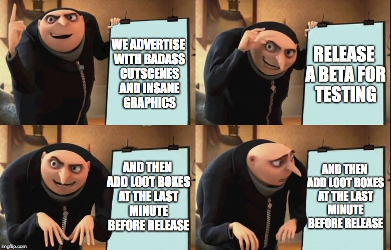 How EA Works  | WE ADVERTISE WITH BADASS CUTSCENES AND INSANE GRAPHICS RELEASE A BETA FOR TESTING AND THEN ADD LOOT BOXES AT THE LAST MINUTE BEFORE RELEASE  | image tagged in despicable me diabolical plan gru template,electronic arts,video games | made w/ Imgflip meme maker