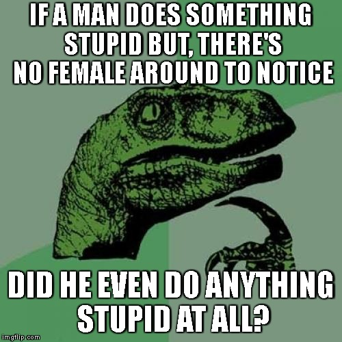 Words Of Wisdom From My Son The Philosoraptor | IF A MAN DOES SOMETHING STUPID BUT, THERE'S NO FEMALE AROUND TO NOTICE DID HE EVEN DO ANYTHING STUPID AT ALL? | image tagged in philosoraptor,women,men,gender,stupid,hmmm | made w/ Imgflip meme maker