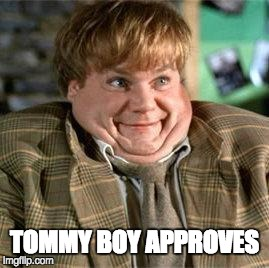 Tommy boy approves | TOMMY BOY APPROVES | image tagged in tommy boy | made w/ Imgflip meme maker