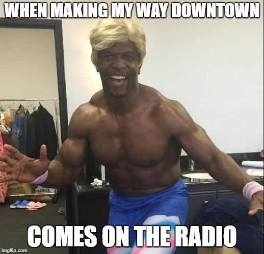 Making my way downtown | WHEN MAKING MY WAY DOWNTOWN COMES ON THE RADIO | image tagged in funny terry crews,white chicks,funny,terry crews,memes,winnerwinnerchickendinner | made w/ Imgflip meme maker