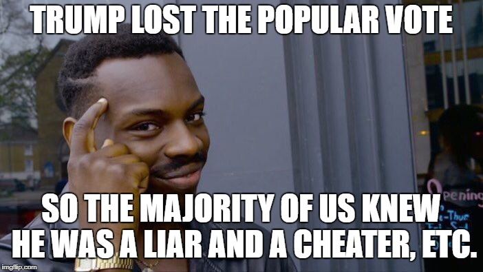 Roll Safe Think About It Meme | TRUMP LOST THE POPULAR VOTE SO THE MAJORITY OF US KNEW HE WAS A LIAR AND A CHEATER, ETC. | image tagged in memes,roll safe think about it | made w/ Imgflip meme maker