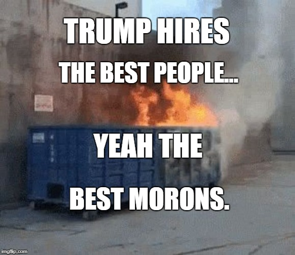Trump Hires The Best Morons | TRUMP HIRES THE BEST PEOPLE... YEAH THE BEST MORONS. | image tagged in trump hires the best morons,donald trump,dotard | made w/ Imgflip meme maker