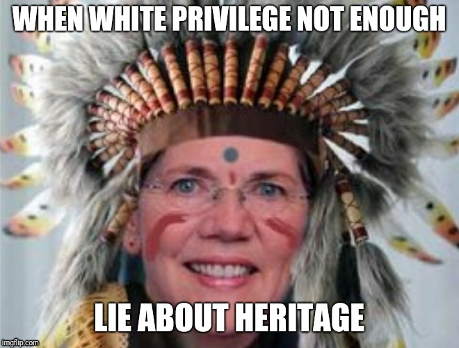 WHEN WHITE PRIVILEGE NOT ENOUGH LIE ABOUT HERITAGE | image tagged in elizabeth warren | made w/ Imgflip meme maker