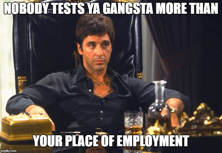 NOBODY TESTS YA GANGSTA MORE THAN YOUR PLACE OF EMPLOYMENT | image tagged in scarface | made w/ Imgflip meme maker