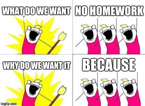 What Do We Want Meme | WHAT DO WE WANT NO HOMEWORK WHY DO WE WANT IT BECAUSE | image tagged in memes,what do we want | made w/ Imgflip meme maker