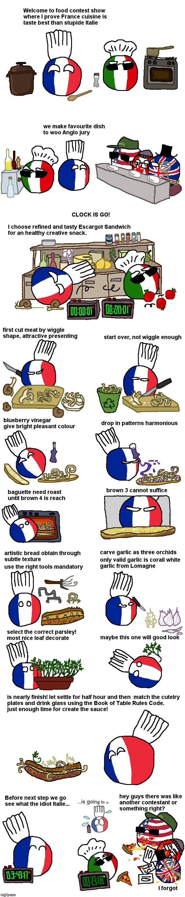 France and Italy, Cooking Contest | image tagged in countryballs,france,italy,anglo | made w/ Imgflip meme maker